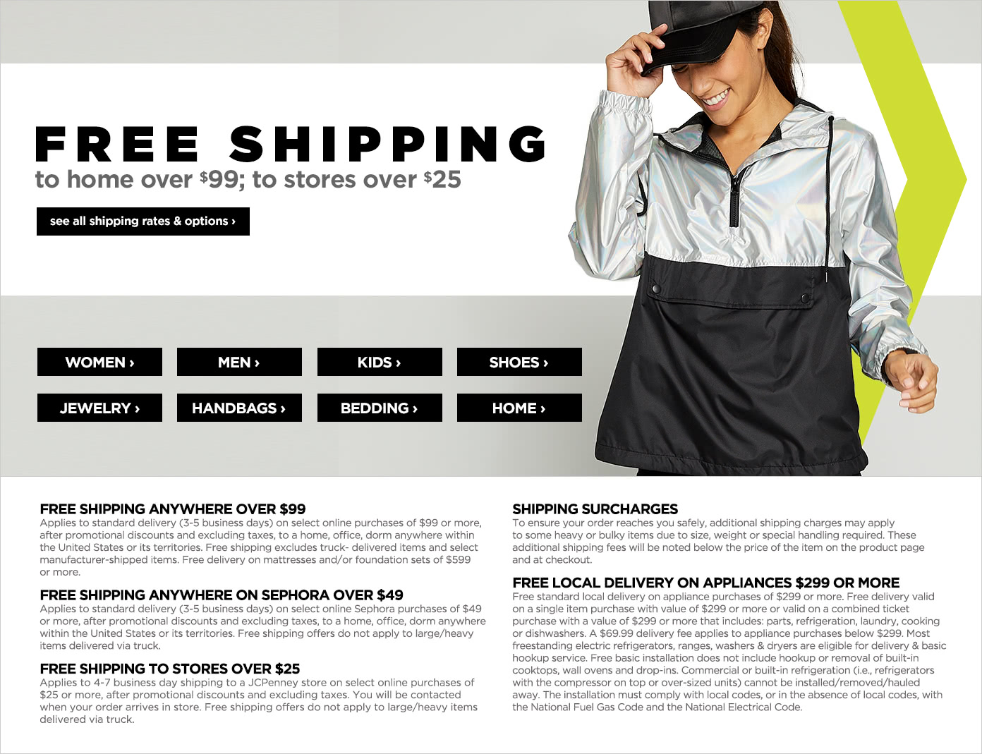 Free Shipping to home over $99, to stores over $25