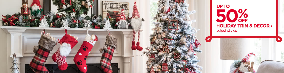 up to 50 off holiday trim and decor